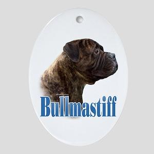 Bullmastiff(brindle)Name Oval Ornament