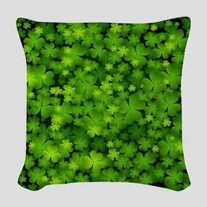 Beautiful Irish Shamrocks Woven Throw Pillow