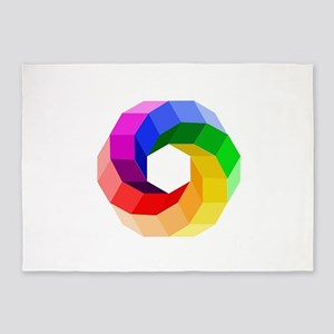 Color wheel- the sever colors of ra 5'x7'Area Rug