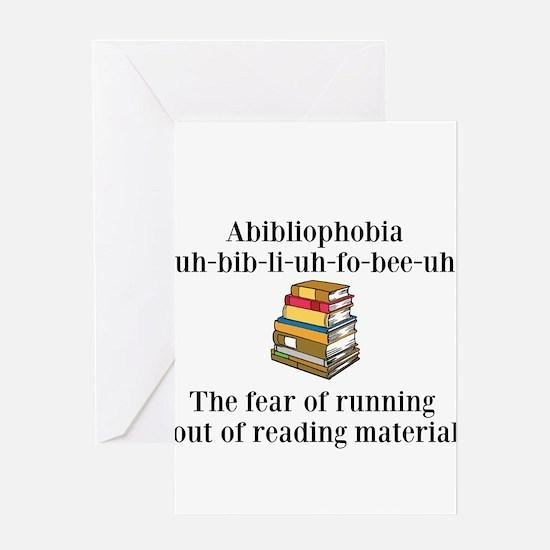 Abibliophobia Greeting Cards