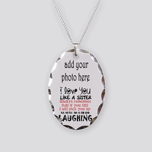 Love You Like A Sister Necklace Oval Charm