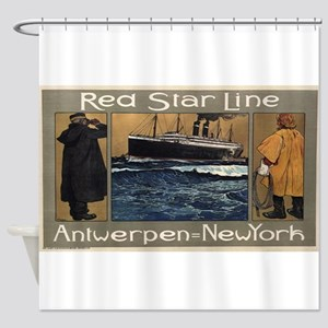 Vintage poster - Red Star Line Shower Curtain