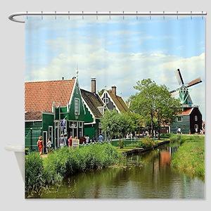 Dutch windmill village, Holland Shower Curtain