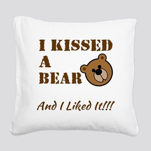 I Kissed A Bear! Square Canvas Pillow