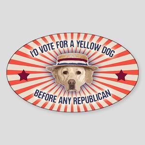 Yellow Dog II Sticker (Oval)
