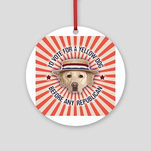 Yellow Dog II Round Ornament