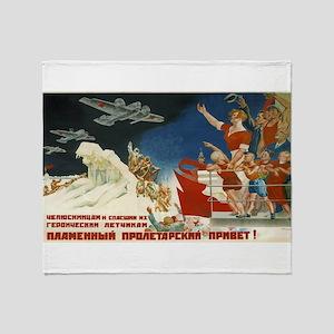 Vintage poster - Soviet Art Poster Throw Blanket