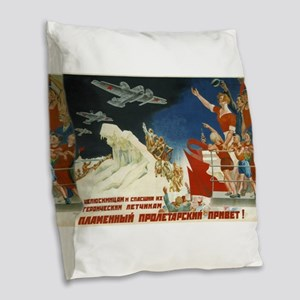 Vintage poster - Soviet Art Po Burlap Throw Pillow