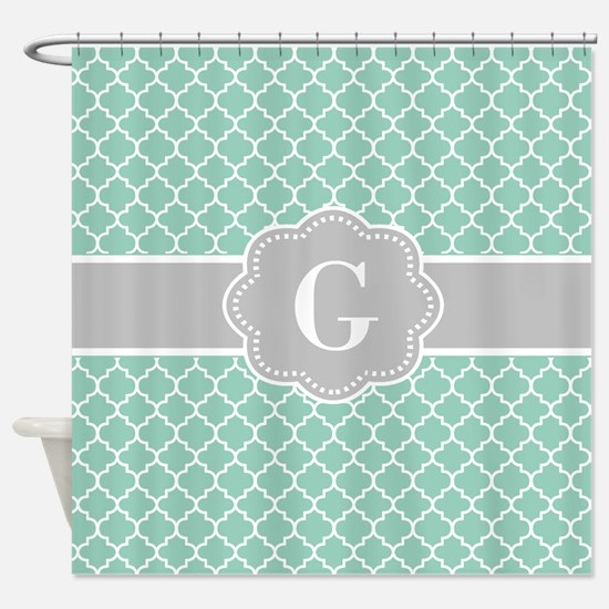 Mint And Grey Shower Curtain. Gray Mint Quatrefoil Monogram Shower Curtain Green And Curtains  CafePress