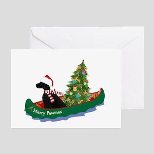 Black Lab Xmas Canoe Greeting Cards (Pk of 10)