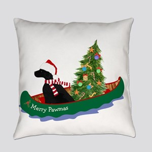 Black Lab Xmas Canoe Everyday Pillow