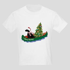 Black Lab Xmas Canoe Kids Light T-Shirt