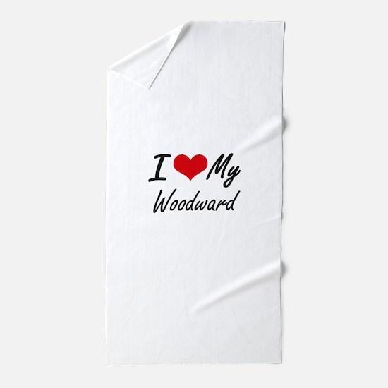I Love My Woodward Beach Towel