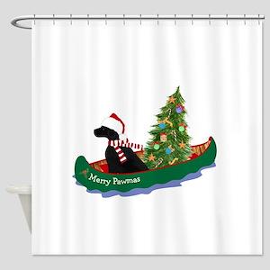 Black Lab Xmas Canoe Shower Curtain