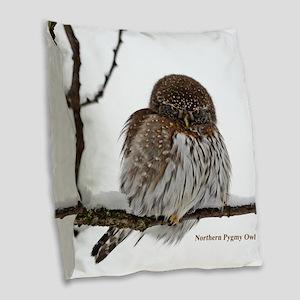 Northern Pygmy Owl Burlap Throw Pillow