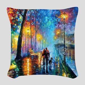 Evening Walk Woven Throw Pillow