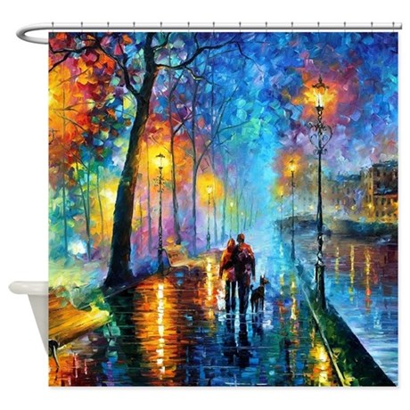 Artistic shower curtains Abstract Evening Walk Shower Curtain Cafepress Art Shower Curtains Cafepress