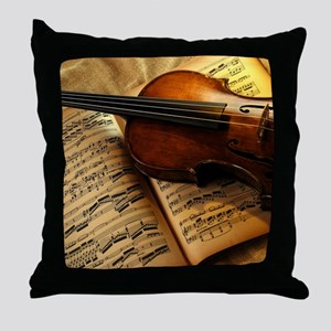 Violin On Music Sheet Throw Pillow