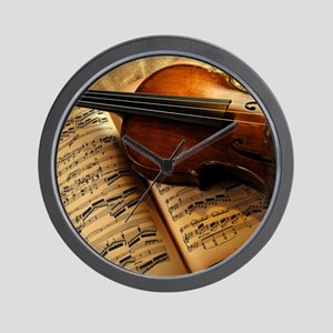 Violin On Music Sheet Wall Clock