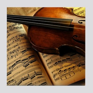 Violin On Music Sheet Tile Coaster