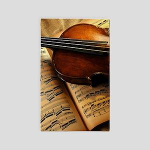 Violin On Music Sheet Area Rug