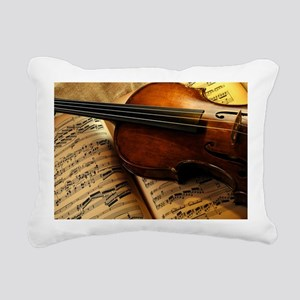 Violin On Music Sheet Rectangular Canvas Pillow