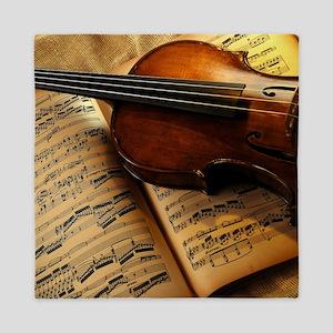 Violin On Music Sheet Queen Duvet