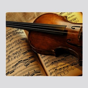 Violin On Music Sheet Throw Blanket