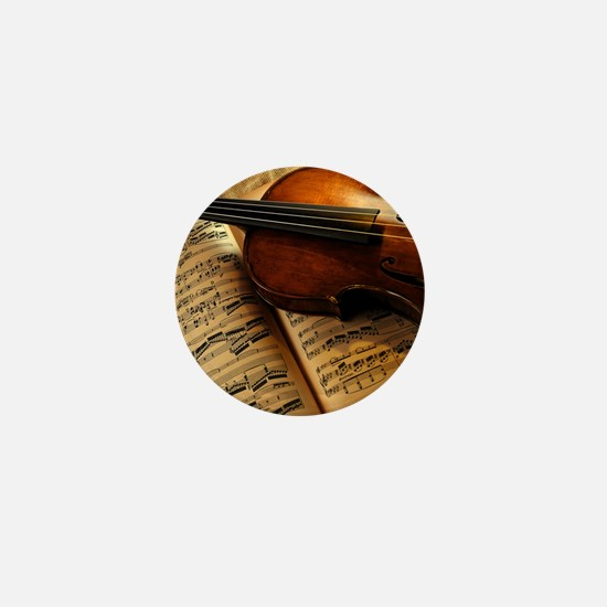 Violin On Music Sheet Mini Button