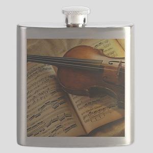 Violin On Music Sheet Flask