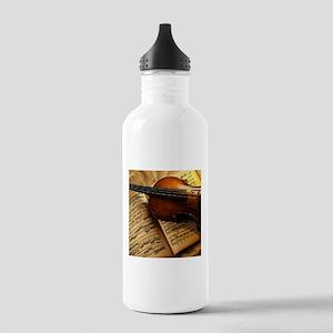 Violin On Music Sheet Sports Water Bottle