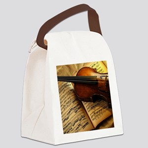 Violin On Music Sheet Canvas Lunch Bag