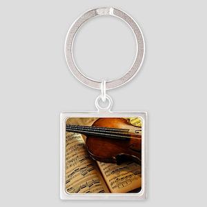 Violin On Music Sheet Keychains