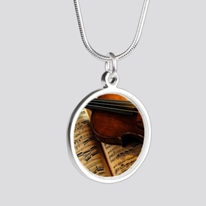 Violin On Music Sheet Necklaces