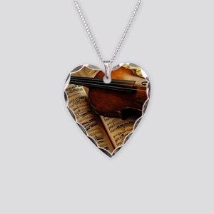 Violin On Music Sheet Necklace Heart Charm