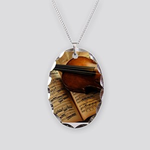 Violin On Music Sheet Necklace Oval Charm