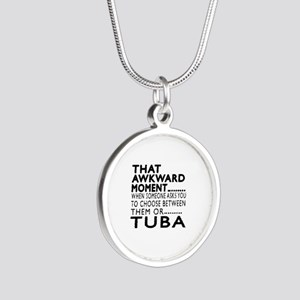 Tuba Awkward Moment Designs Silver Round Necklace