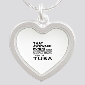 Tuba Awkward Moment Designs Silver Heart Necklace