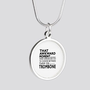 Trombone Awkward Moment Desi Silver Round Necklace