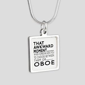 Oboe Awkward Moment Design Silver Square Necklace