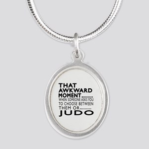 Judo Awkward Moment Designs Silver Oval Necklace