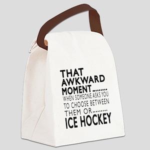 Ice Hockey Awkward Moment Designs Canvas Lunch Bag