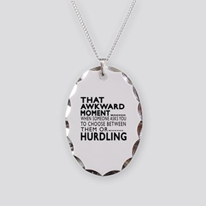 Hurdling Awkward Moment Design Necklace Oval Charm