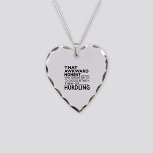 Hurdling Awkward Moment Desig Necklace Heart Charm