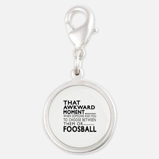 Foosball Awkward Moment Design Silver Round Charm