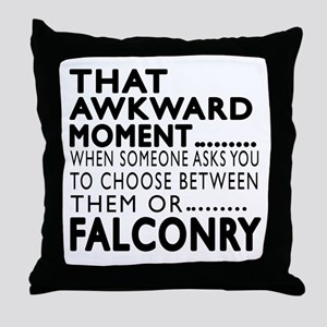 Falconry Awkward Moment Designs Throw Pillow