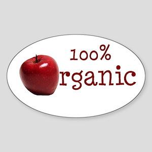 Organic Apple Car Bumper Oval Sticker