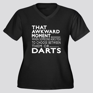 Darts Awkwar Women's Plus Size V-Neck Dark T-Shirt