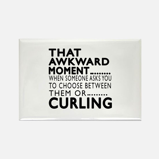 Curling Awkward Moment Designs Rectangle Magnet