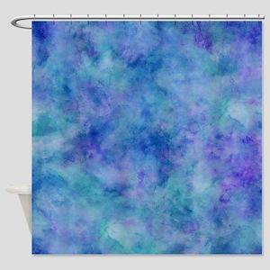 Ocean Aqua Blue Watercolor Shower Curtain